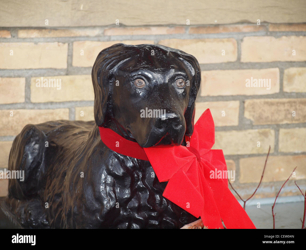 Vintage Black Labrador Dog Garden Statue With Red Christmas Bow   Stock  Image