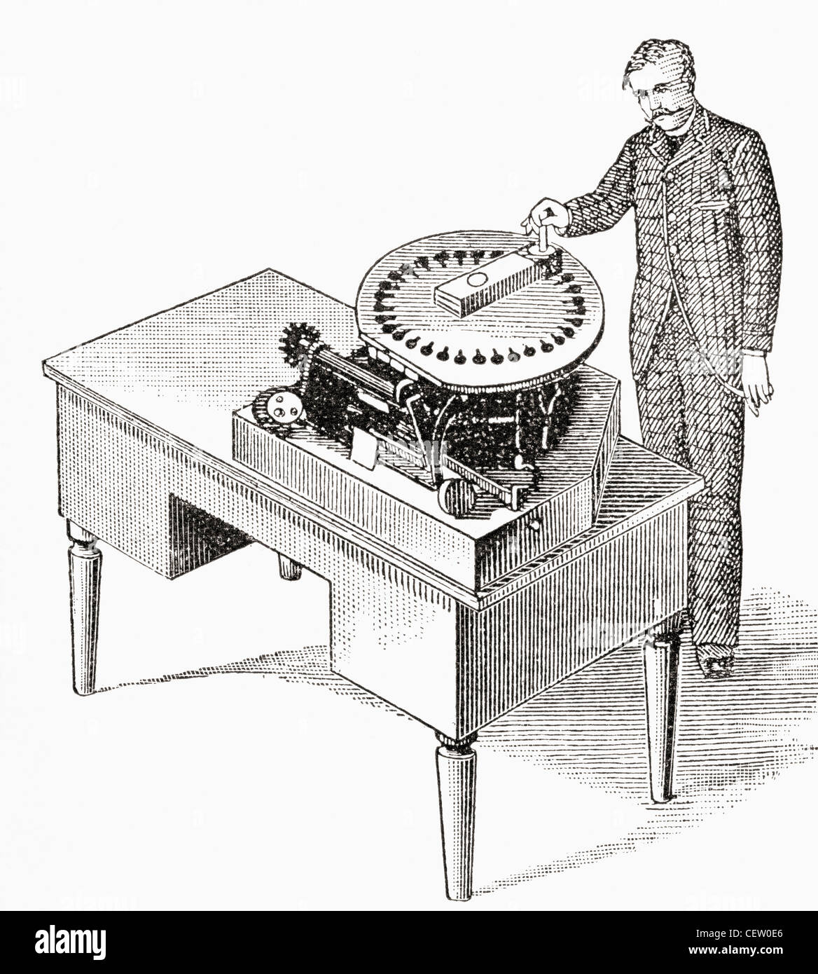 A typewriter of 1836. From The Strand Magazine published 1897. - Stock Image