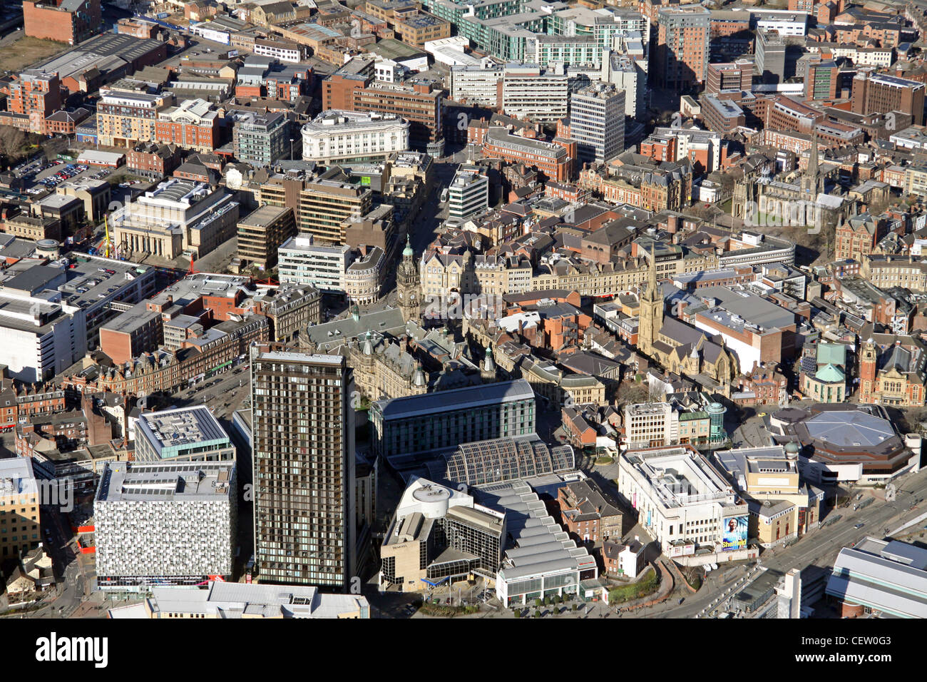 Aerial image of Sheffield City Centre - Stock Image