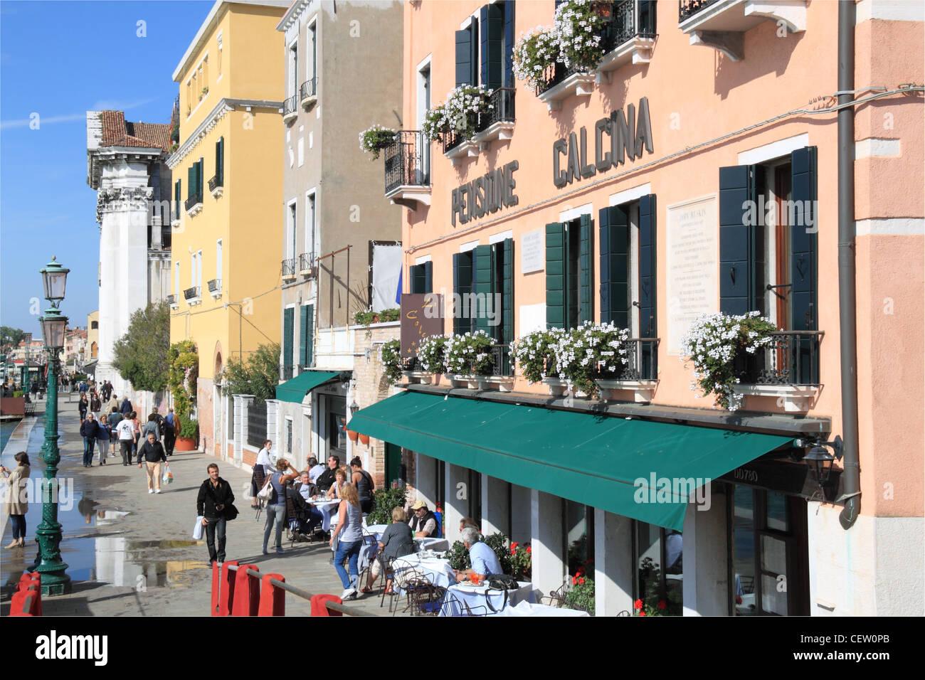 Pensione Calcina, La Calcina (The Lime House), Fondamenta Zattere ai Gesuati,  Venice, Veneto, Italy, Adriatic Sea, - Stock Image