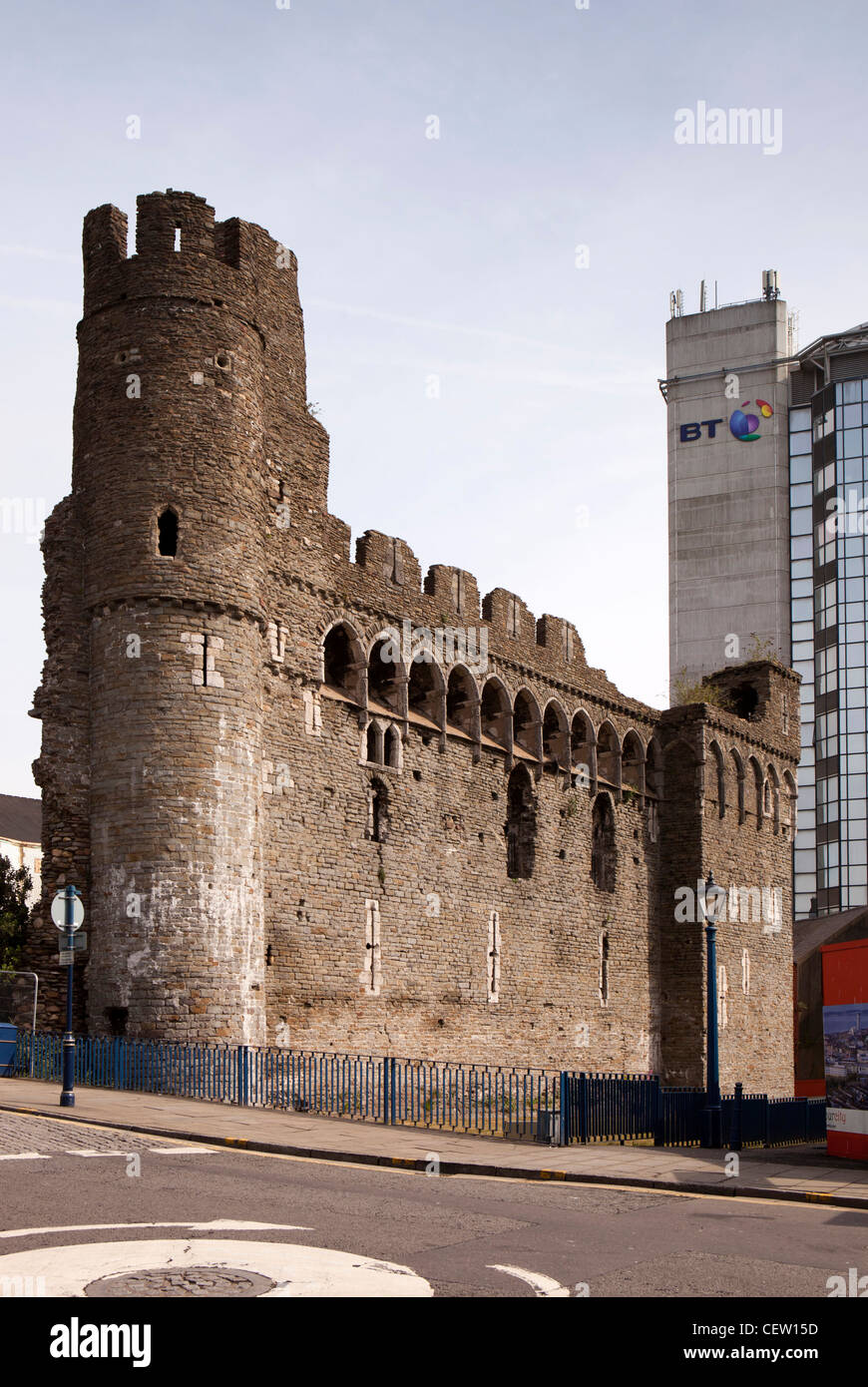 UK, Wales, Swansea, castle ruins in city centre - Stock Image