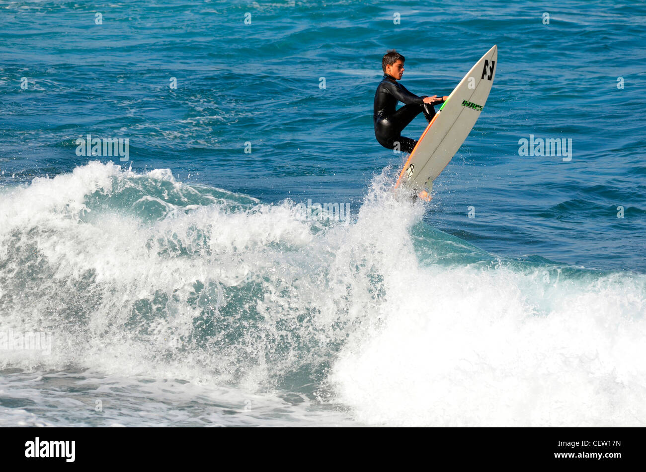 Ivan Gonzalez Dominguez (age 17) Spanish Surfing champion Photographed in Tenerife, Canary Islands, - Stock Image
