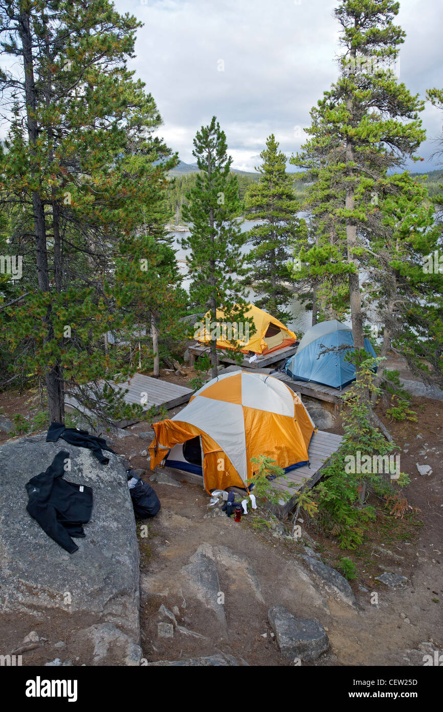 Campsite. Bare Loon Lake. Chilkoot Trail. British Columbia. Canada - Stock Image