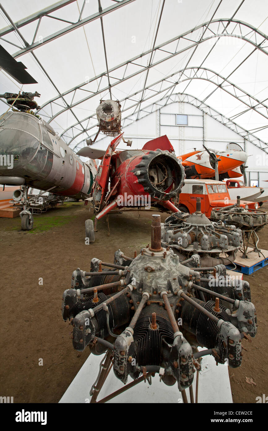 Old aircraft engines. Alaska Aviation Museum. Anchorage. Alaska. USA - Stock Image