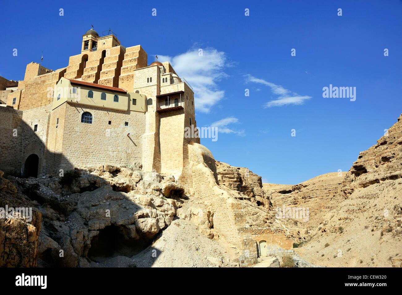 Mar Saba monastery in the Judea desert - Stock Image
