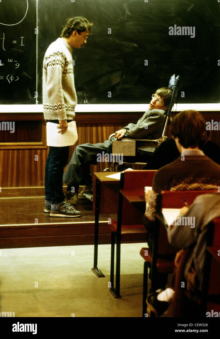 Professor Stephen Hawkins lectures in Cambridge - Stock Image