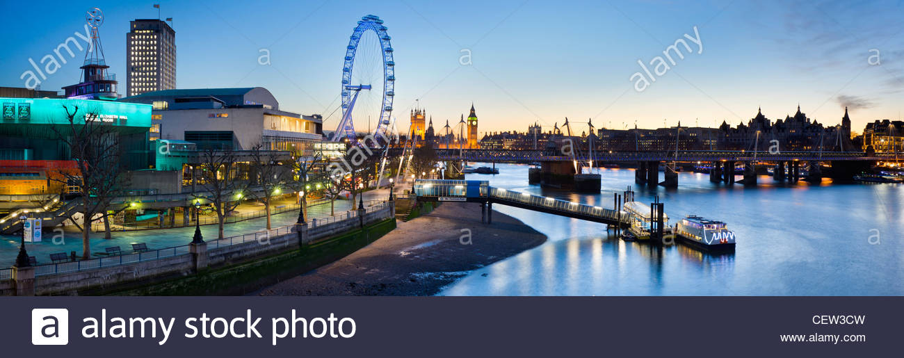 The South Bank, and the river Thames, London Stock Photo
