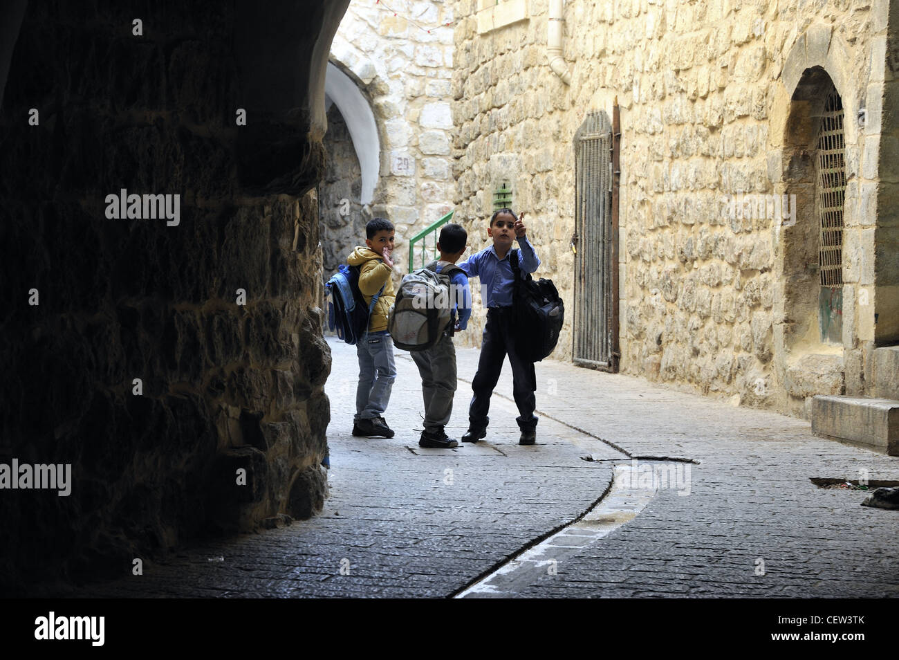 Children in the old city of Hebron West Bank Palestin - Stock Image