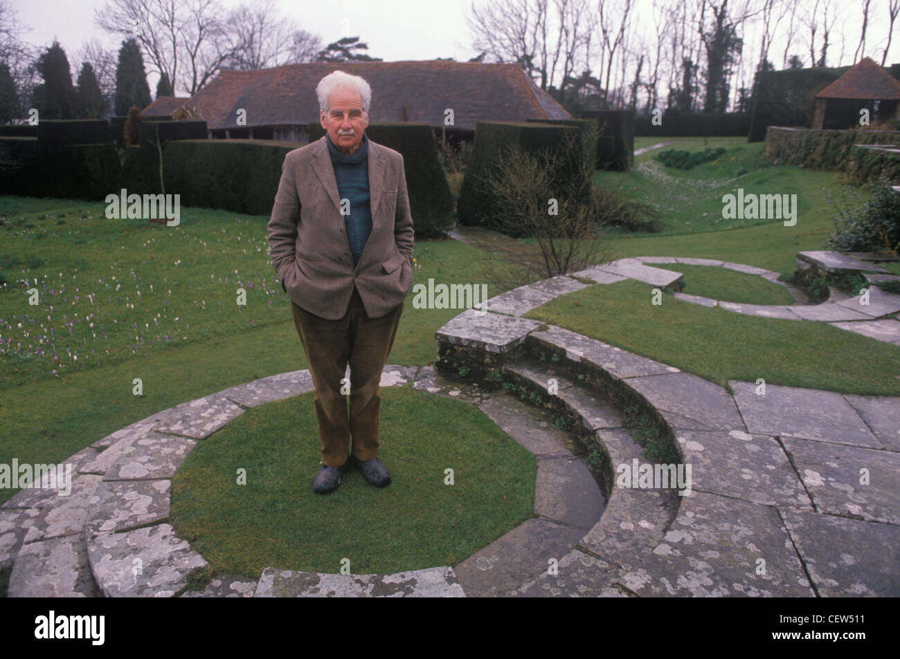 Christopher Lloyd portrait at Great Dixter his country home East Sussex 1990s UK HOMER SYKES - Stock Image