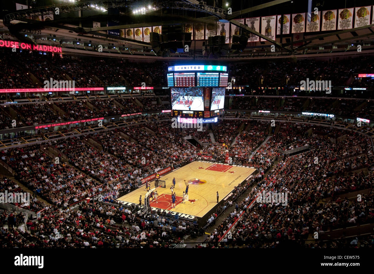 Chicago Bulls Basketball Game At The United Center Stock Photo