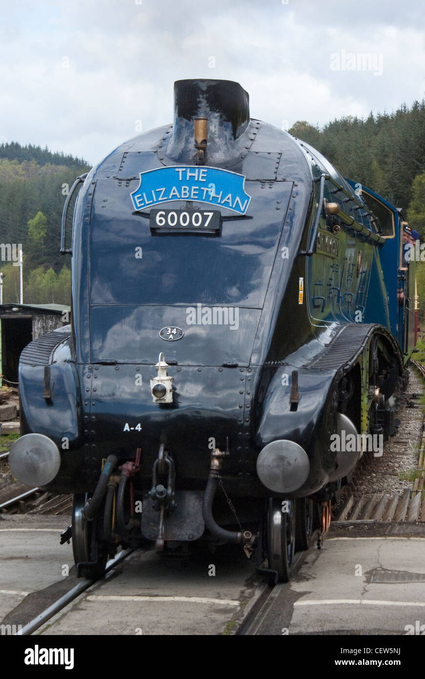 "Steam locomotive ""Sir Nigel Gresley"" at Levisham on the North Yorkshire Moors Railway Stock Photo"