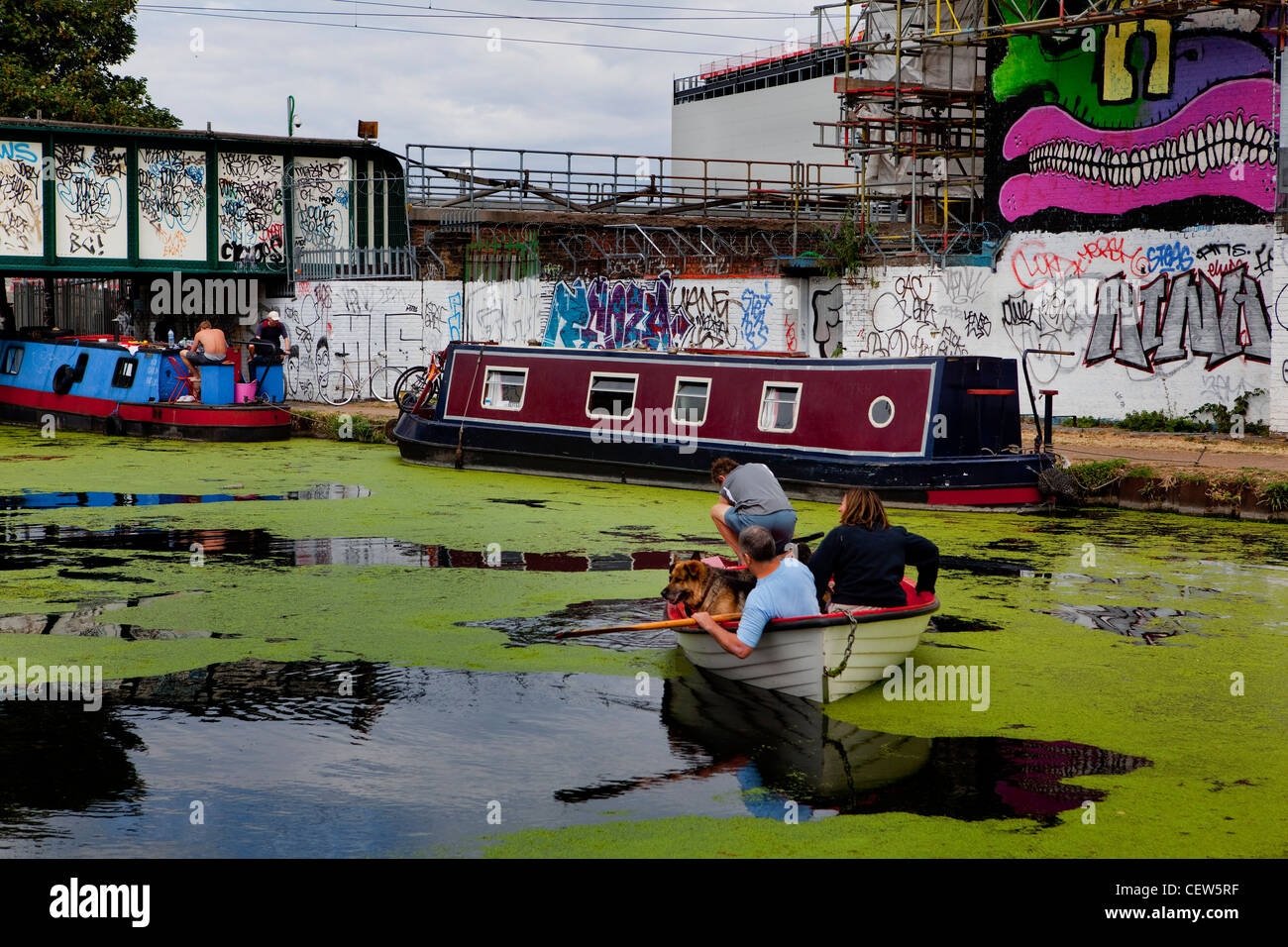 Rowing boat trip on the River Lea, Hackney Wick, London - Stock Image