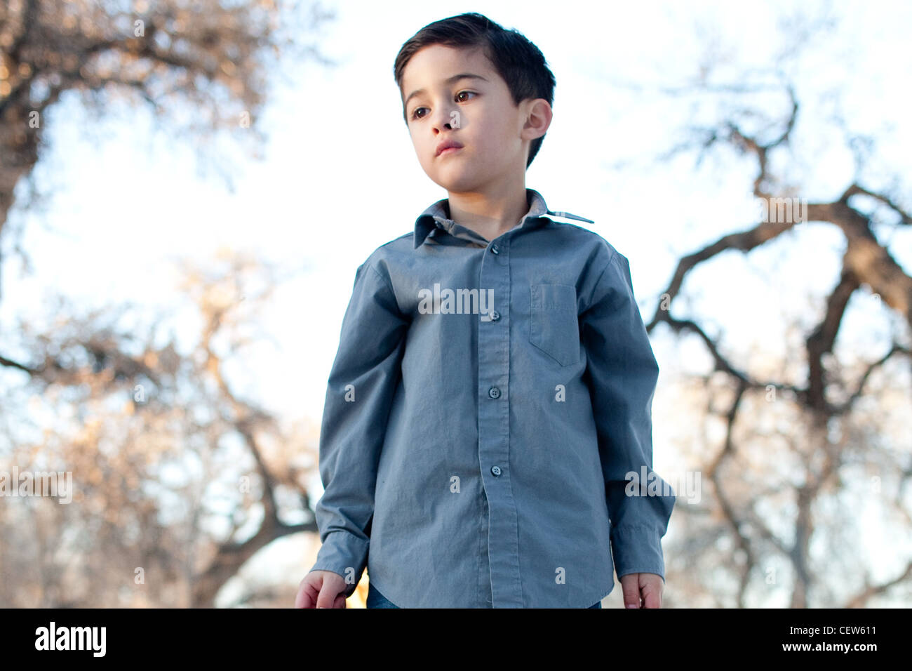 Portrait of a boy looking melancholic surrounded by nature - Stock Image