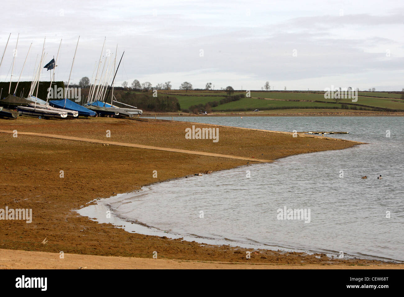 PITSFORD RESERVOIR in northamptionshire which is affected by the drought - Stock Image