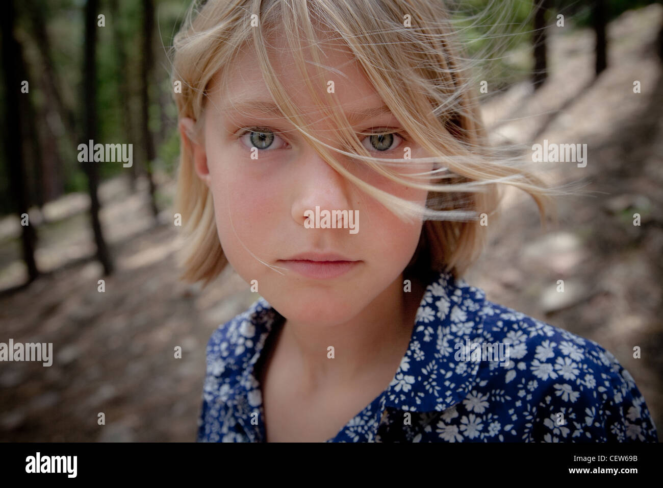 Girl with windblown hair - Stock Image