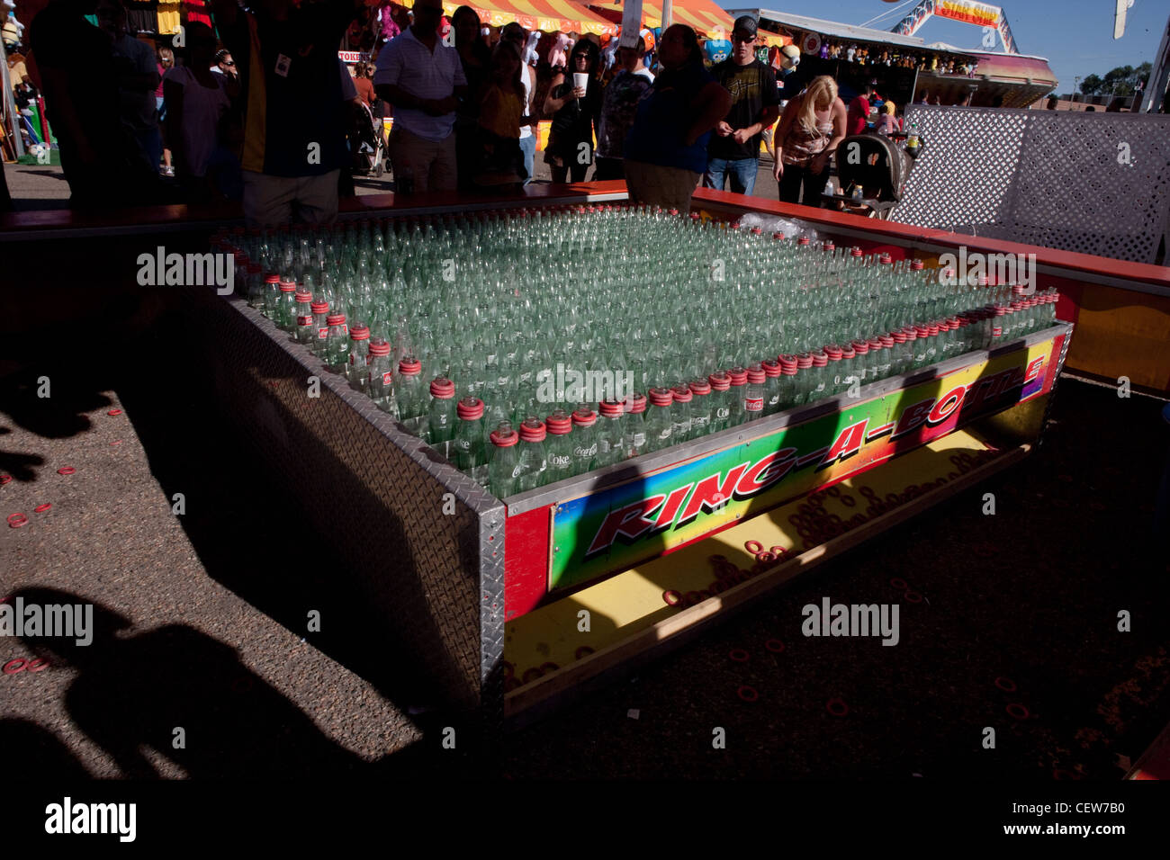 Bottle toss game at the State Fair - Stock Image