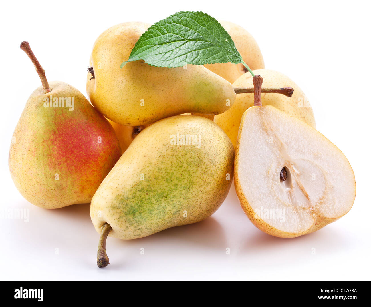 Ripe pears with a leaf.Objects are isolated on a white background. - Stock Image