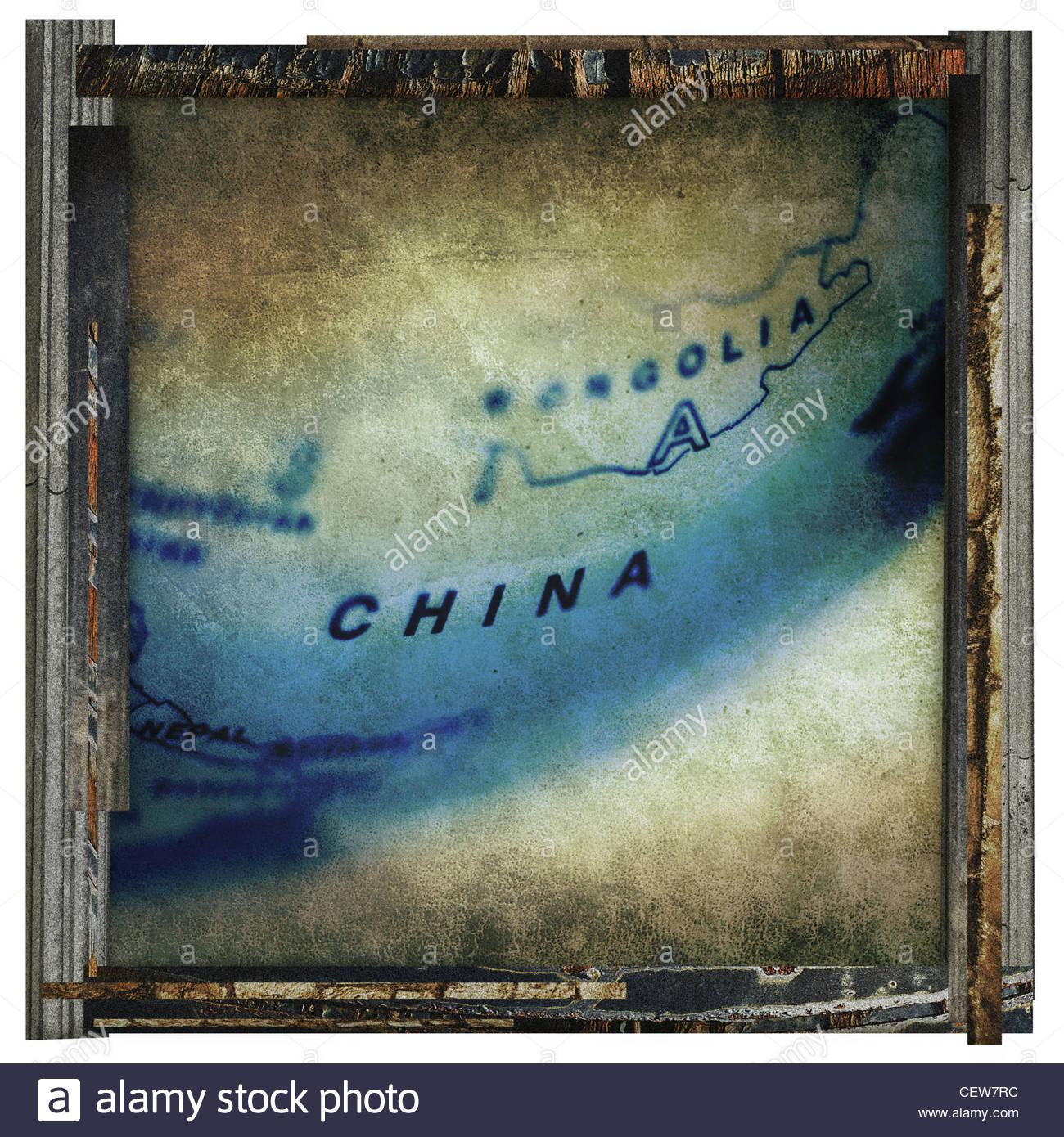 old china print - Stock Image