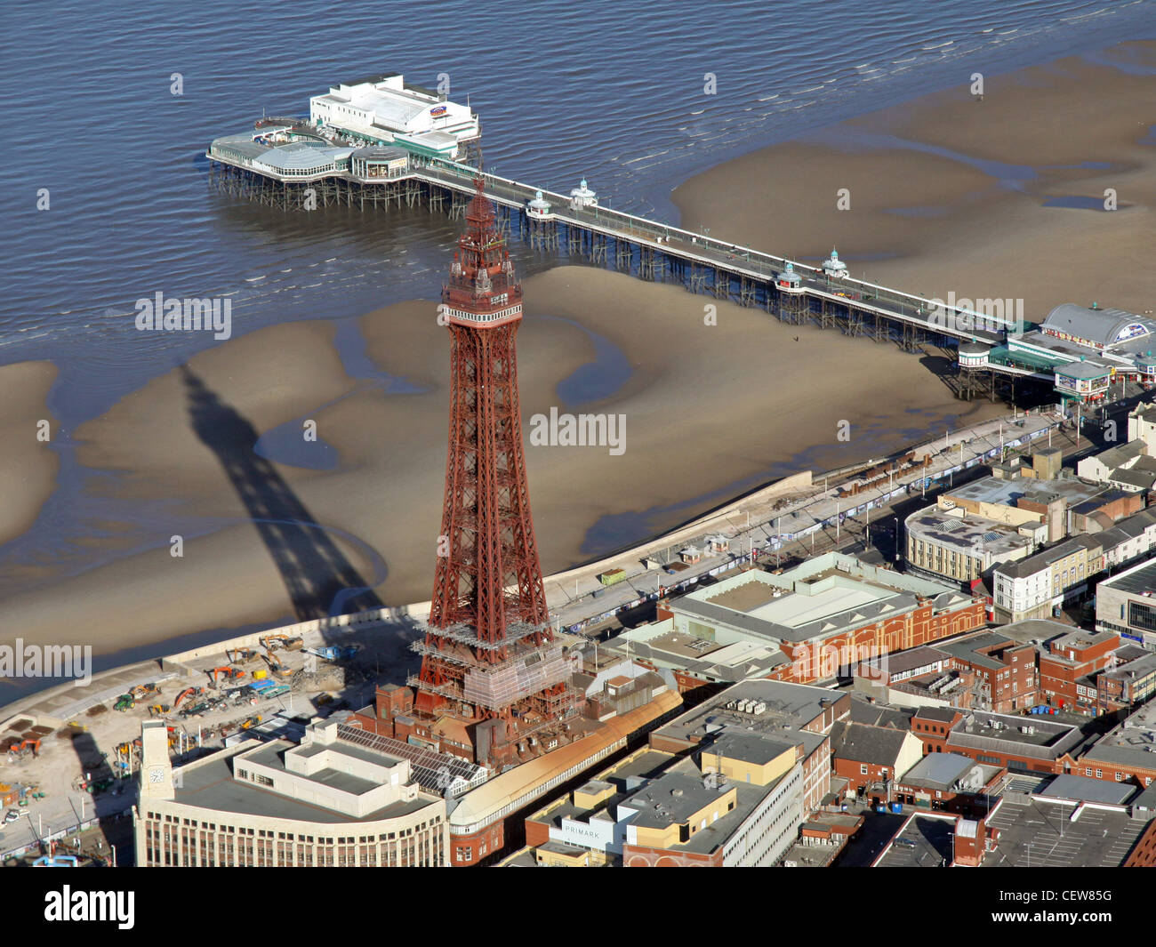 Aerial image of Blackpool Tower & Blackpool Pier with seafront - Stock Image
