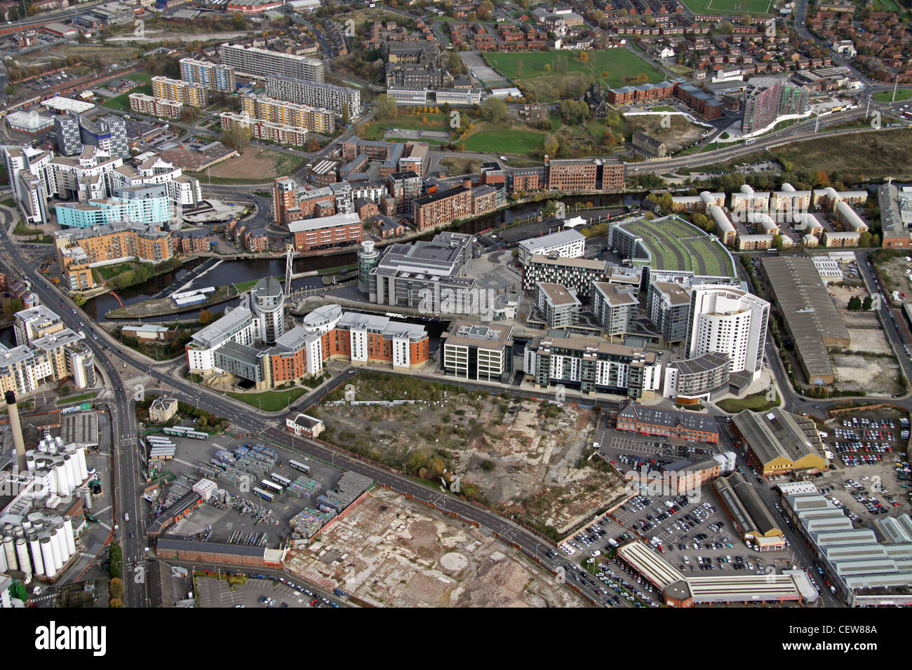 Aerial image of Clarence Dock area, Leeds - Stock Image