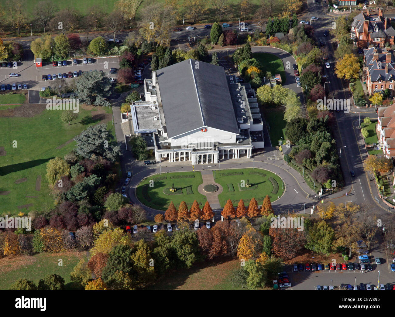 Aerial image of De Montfort Hall, Leicester - Stock Image