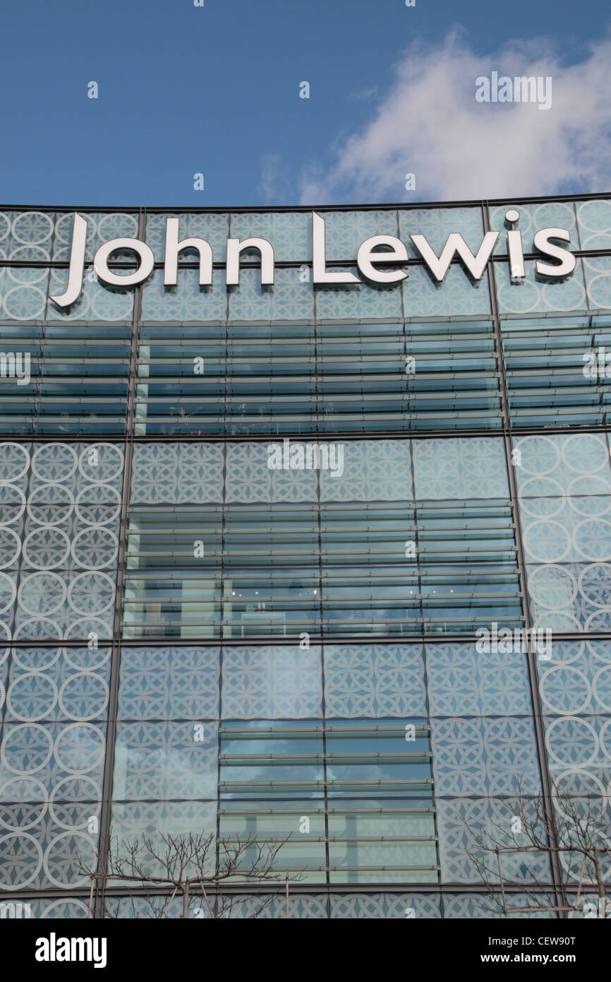 The John Lewis logo outside the branch in Westfield Stratford City shopping centre, Stratford, London. Stock Photo