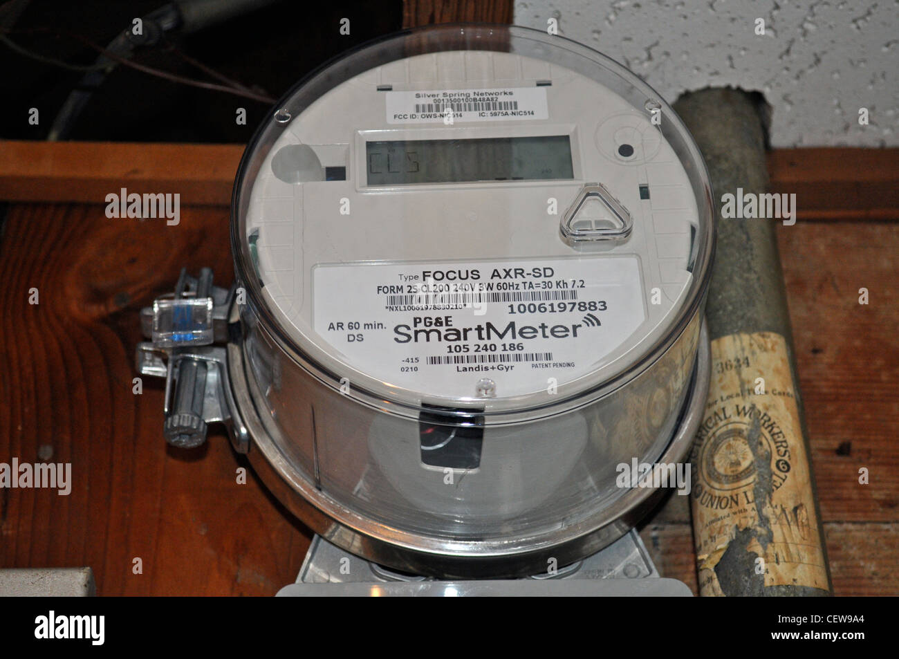 PG&E electric Smartmeter in home basement, San Francisco, California, USA - Stock Image