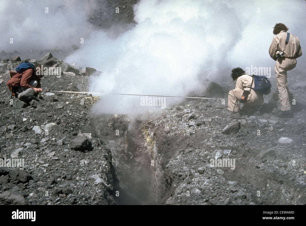 The U.S. Geological Survey established both periodic and continuous 24-hour monitoring programs at Mount St. Helens - Stock Image