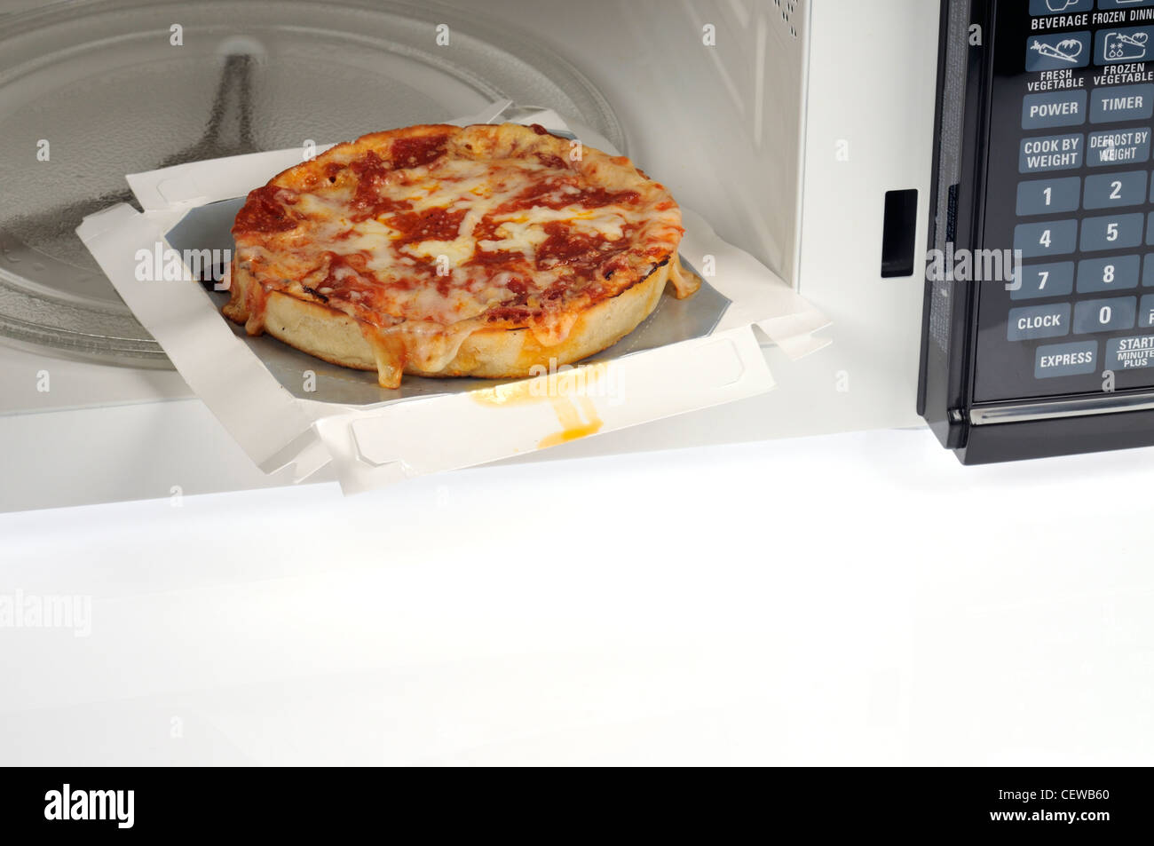 Microwave Cooked Single Deep Dish Pizza With Pepperoni