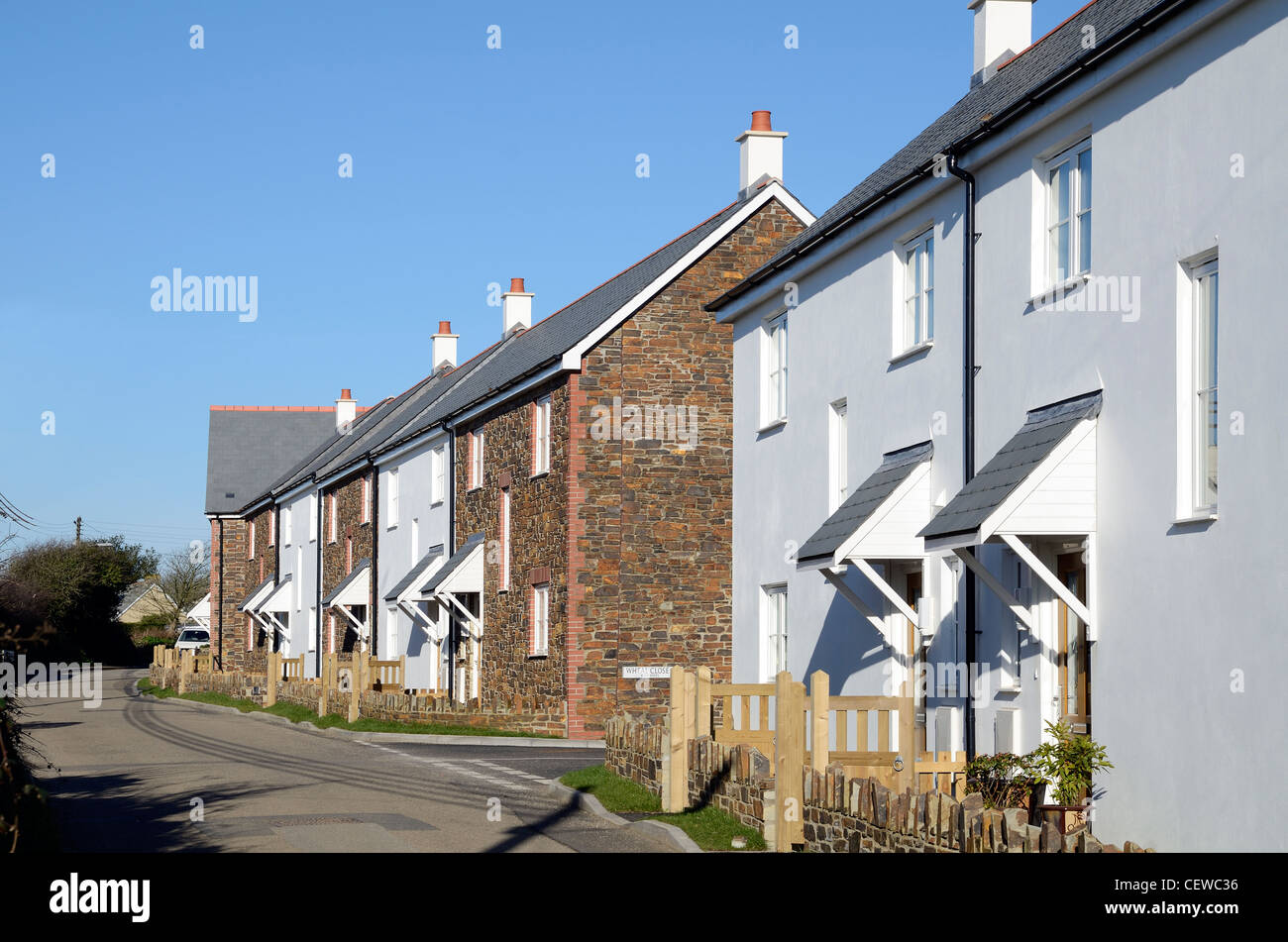 A new affordable housing project in rural cornwall, uk Stock Photo
