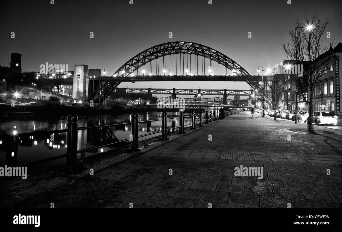 Black and white photograph of tyne bridge at night in newcastle upon tyne in newcastles popular quayside distrct