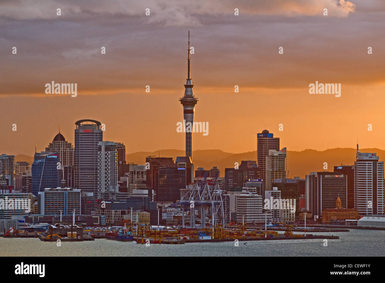 Auckand City Skyline across the harbour to the CBD from Mount Victoria, Auckland, New Zealand - Stock Image
