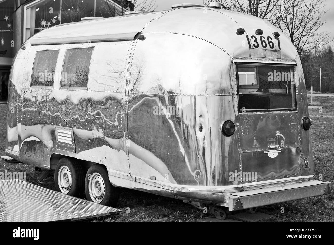 Silver Airstream caravan in the grounds of the Vitra Design Museum, Weil Am Rhein, Germany - Stock Image