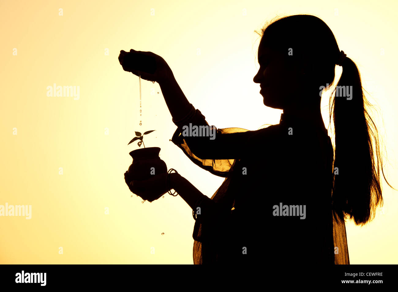 Indian teenage girl sprinkling water over a plant seedling in a clay pot. Silhouette. India Stock Photo