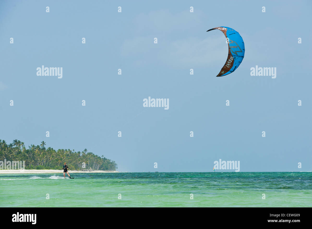 Kite surfer at Bwejuu east coast of Zanzibar Tanzania - Stock Image