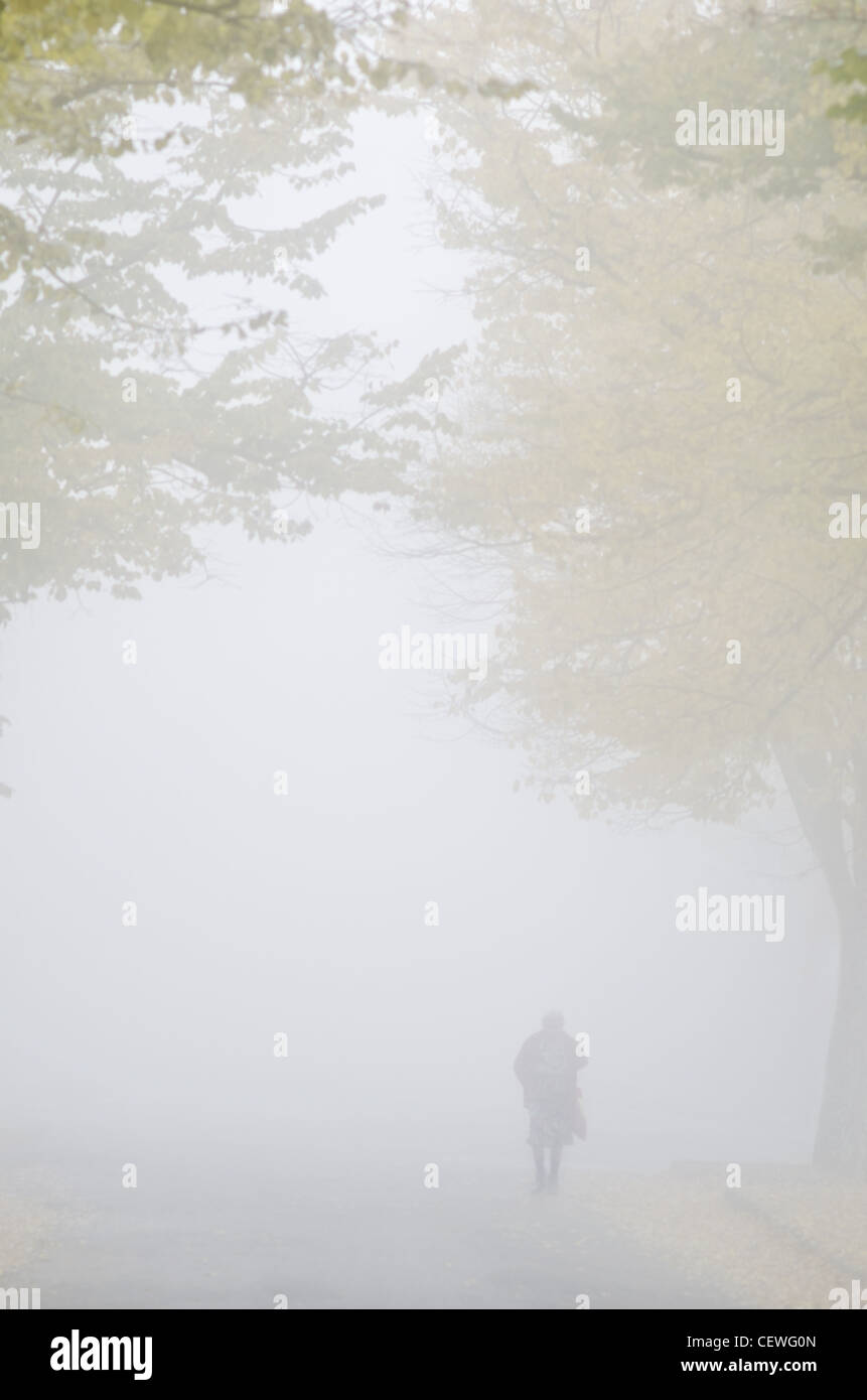 Walking in the fog. - Stock Image