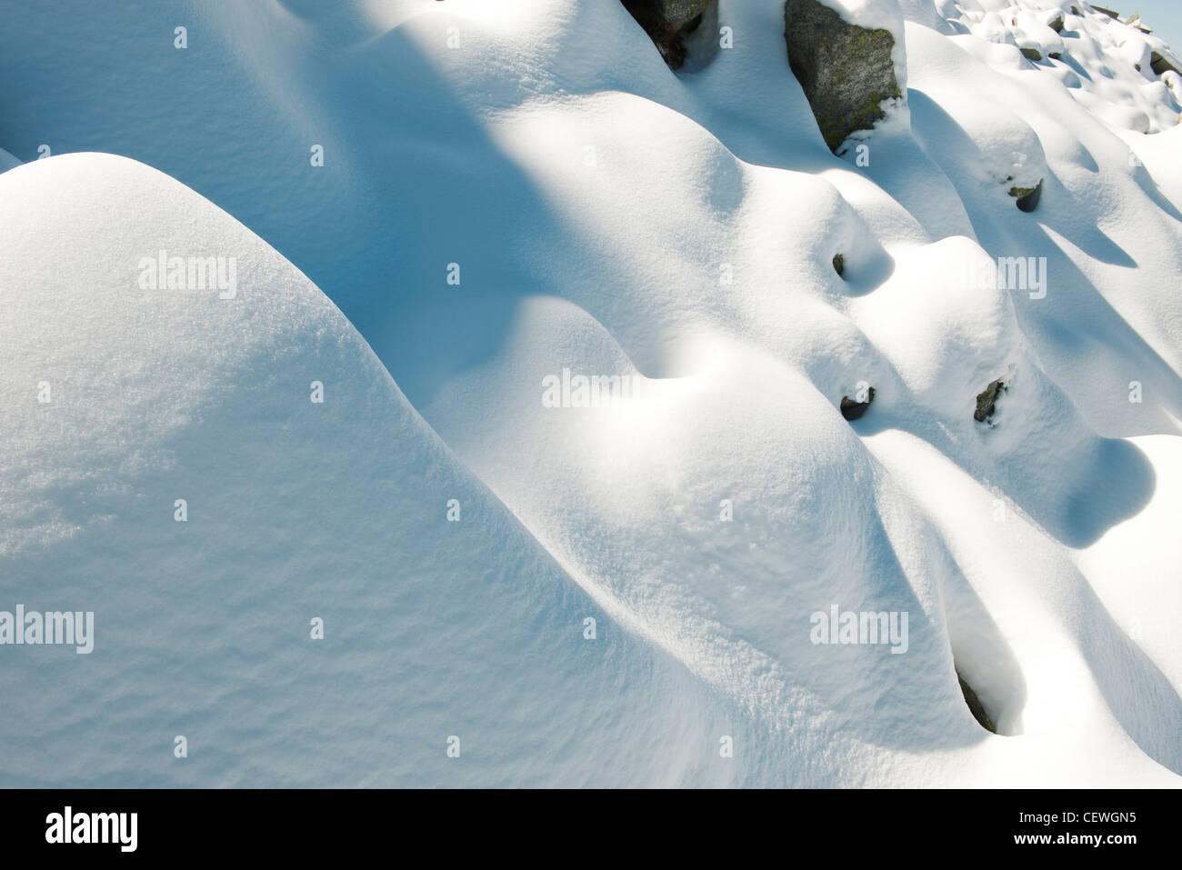 Snow mounds, full frame - Stock Image