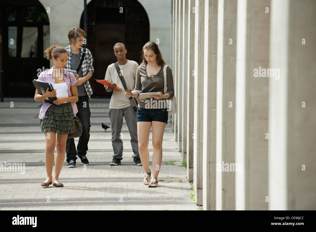 University students walking on campus discussing schoolwork - Stock Image