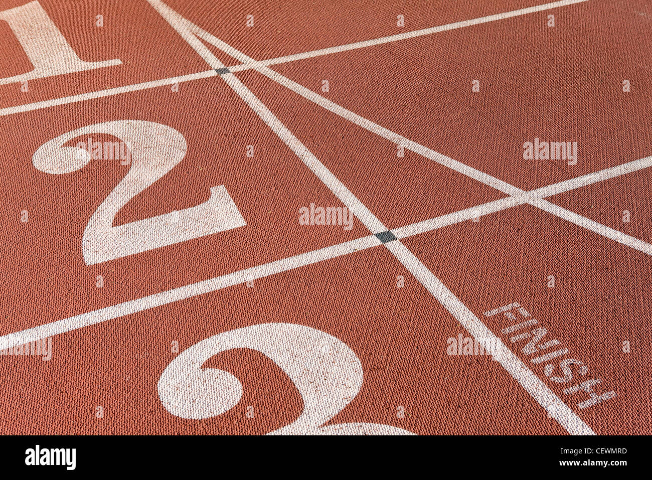 Lanes of running track, focus on lane two - Stock Image