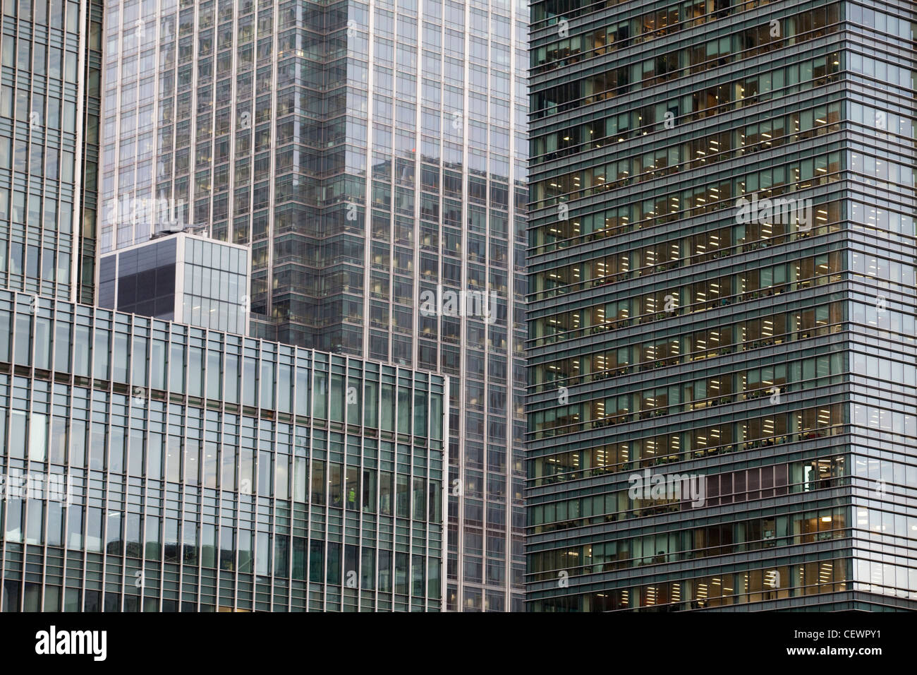 Office buildings at Canary Wharf , London - Stock Image