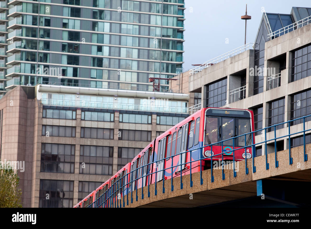 The Docklands Light Railway (DLR) is an automated light rail system serving the Docklands area of east London. - Stock Image