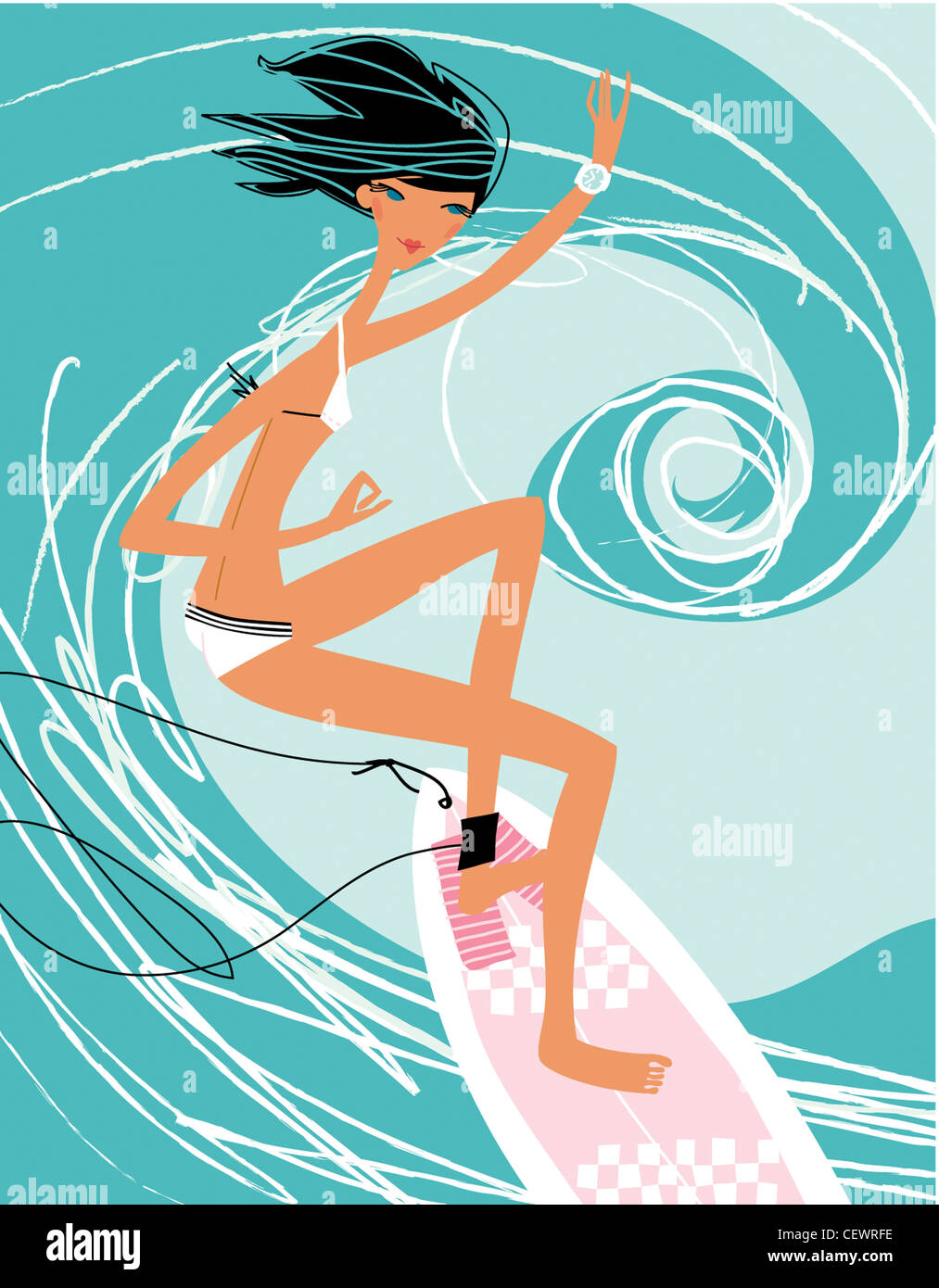 Horoscope illustrations Cancer Female, black hair, white