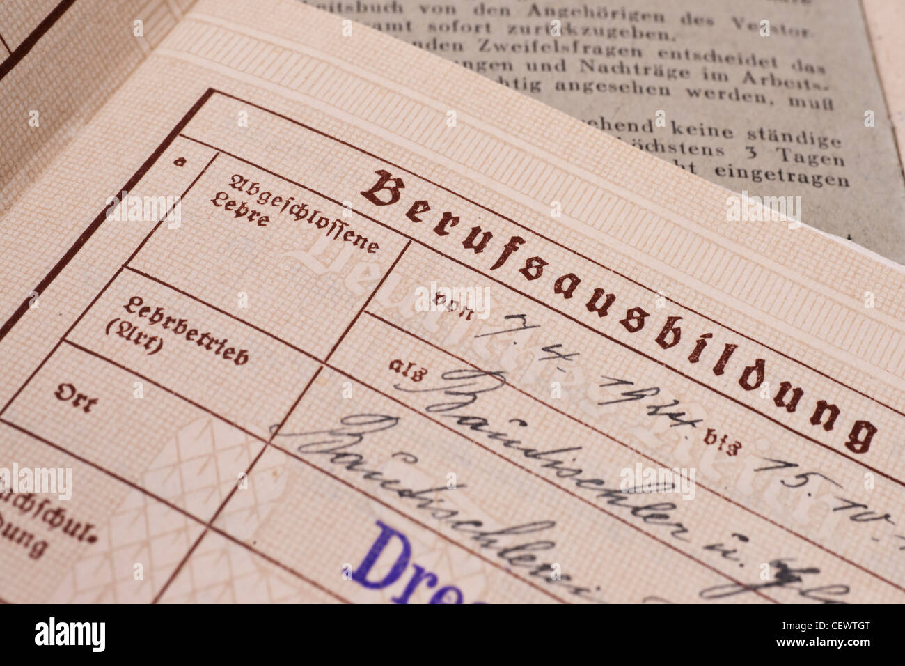 Excercise Book of the German Reich from 1935/1936, page apprenticeship - Stock Image