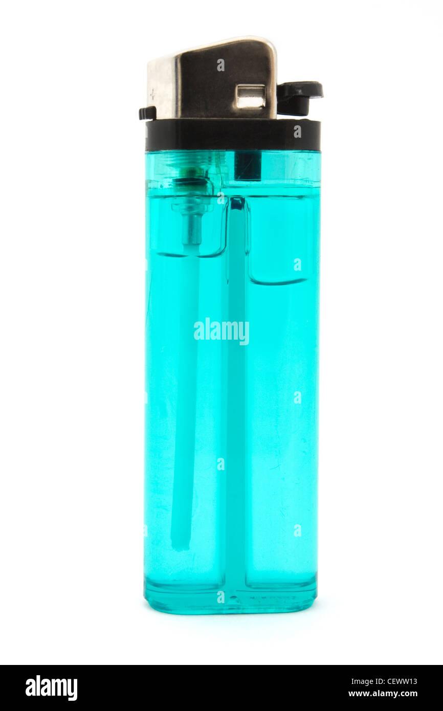 Single blue cigarette lighter over white - Stock Image
