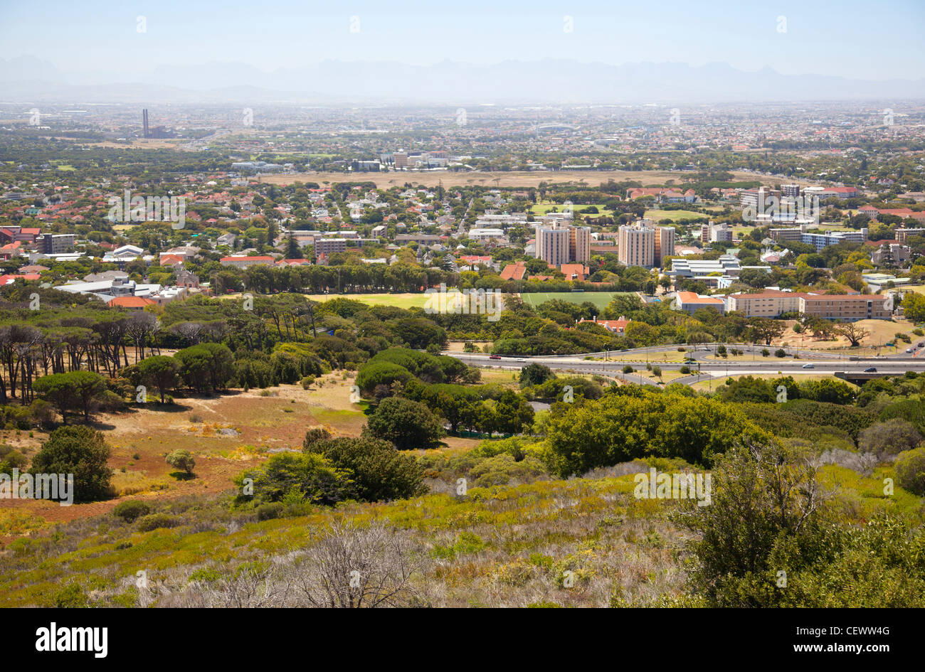 View of home in Woodstock , Observatory from Table Mountain - Stock Image