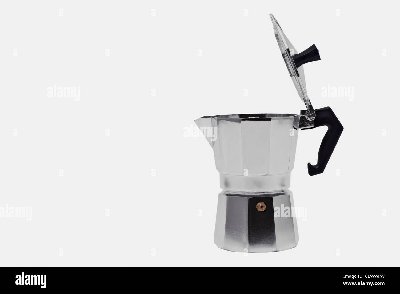 Detailansicht einer einfachen Kaffeemaschine, Perkolator | Detail photo of a simple coffee maker, percolator - Stock Image