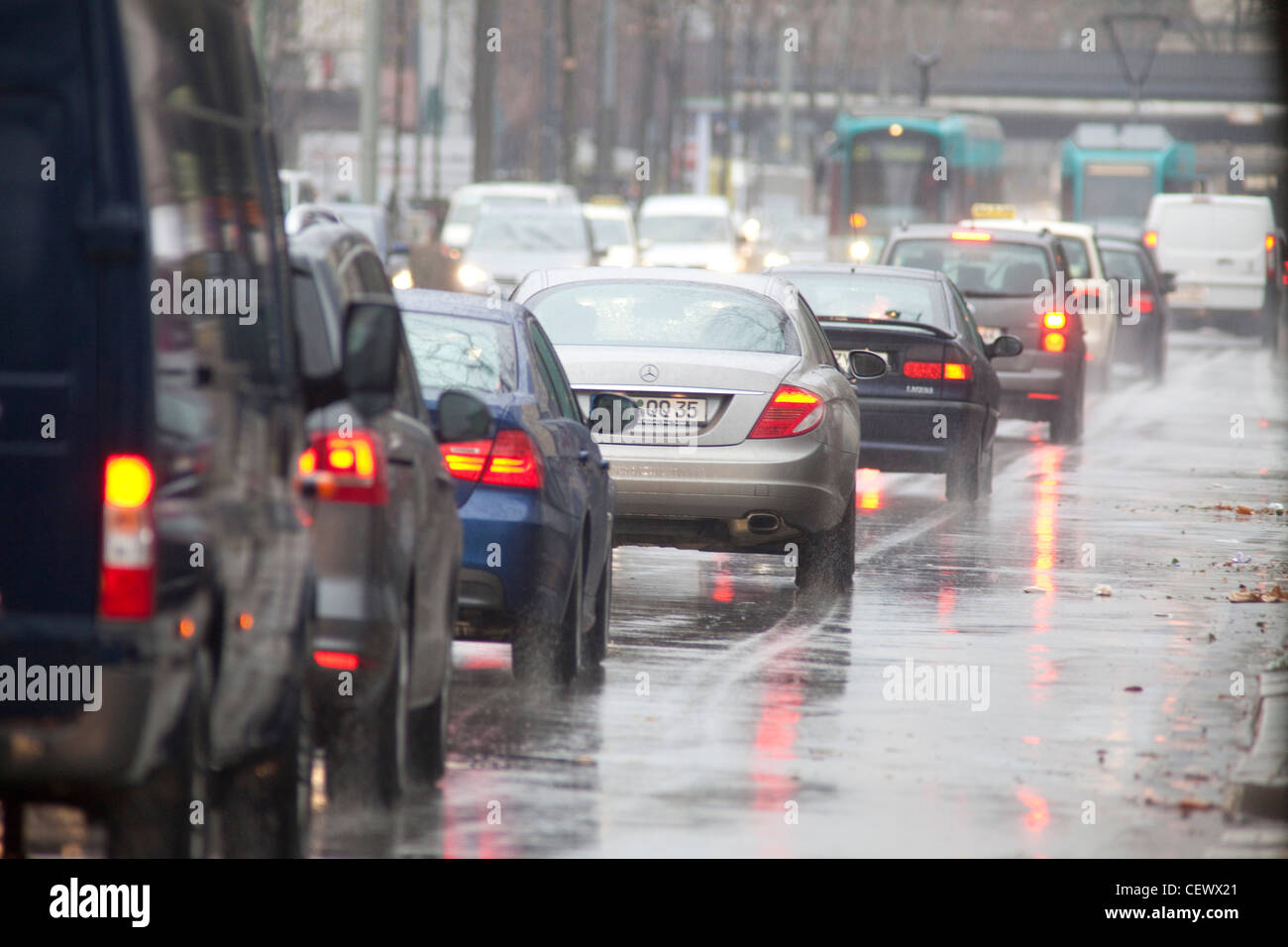 Frankfurt , Germany - traffic coming into Frankfurt in the morning rush on a wet and rainy day. - Stock Image