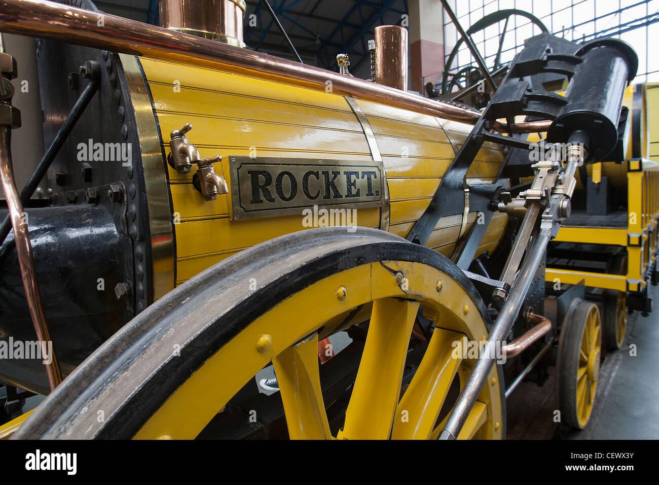 replica george stephensons rocket at the national railway museum york uk stock image