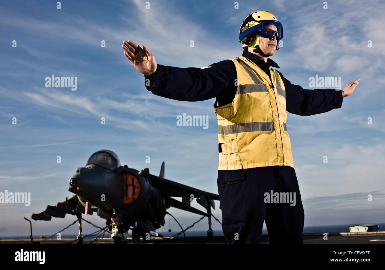 Air traffic control on naval aircraft carrier HMS Illustrius - Stock Image