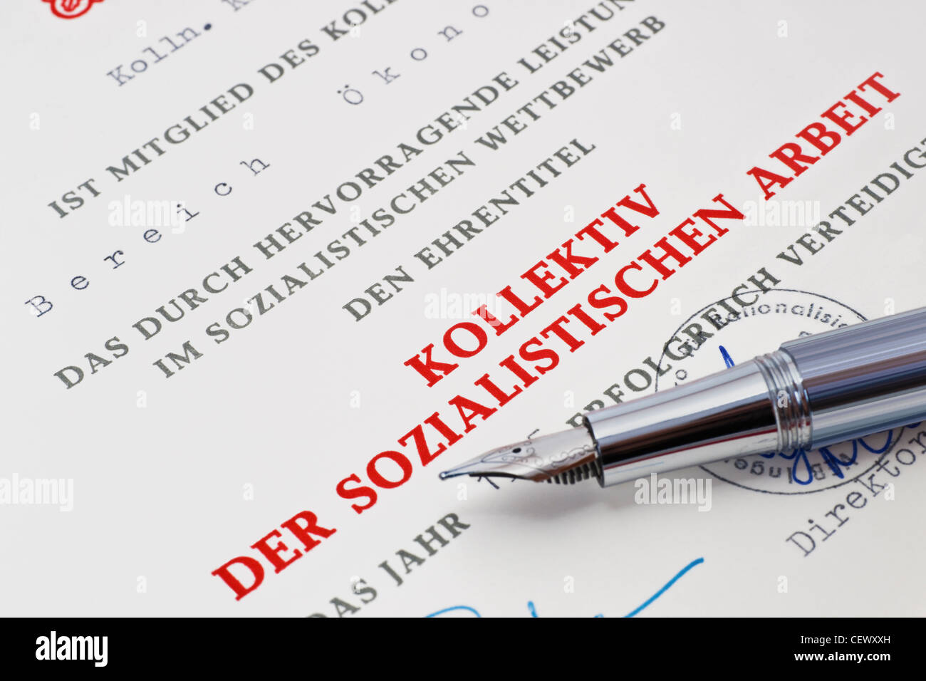 Deed collective of the socialist work from GDR - Stock Image